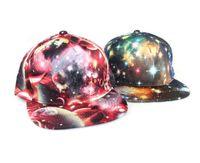 korece hip hop tarzı şapkalar toptan satış-80 adet moda Kore Galaxy Desen Uzay Baskı Snapback Stil Kadın Erkek Şapka Unisex Moda Beyzbol Hip Hop Kap D765