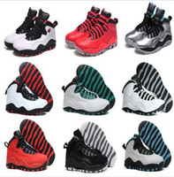 Wholesale icing powder - 2016 cheap air 10 X basketball Shoes Steel Grey Powder Blue Chicago Seattle Ice Blue Bobcats Infrared Venom 10 Trainers Boots Sneakers