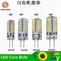 Wholesale 3w Cree Led Sale - Hot Sales SMD 3014 G4 110V 3W 4W 5W 6W LED Corn Crystal lamp light DC 12V   AC 220V LED Bulb Chandelier
