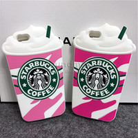 Creative Starbucks Phone Case Tampa de silicone de alta qualidade para iphone 6 6s Plus 5 5s SE Starbucks Ice Cream com Sucker OPPBAG