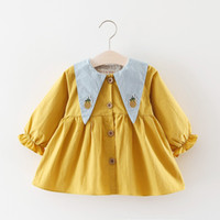 Wholesale Top Little Girl Dresses - Girls Dresses Tops with Embroidery Triangle Collar 2017 Fall Kids Boutique Clothing Korean 1-5T Little Girls Cotton Long Sleeves Dresses