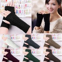Wholesale Cheap Ladies Mittens - Wholesale- Hot New 2017 Women Ladies Winter Gloves Warm Knitted Fingerless Gloves Hand Wrist Warmer Mitten Snow Gloves For women Cheap Z1