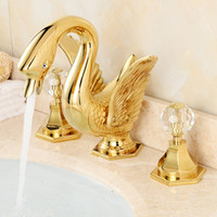 Wholesale Swan Faucet Crystal Handles - Newly Golden Bathroom Widespread 8 inch Deck Mounted Bathroom Basin Sink Faucet Dual Crystal Handles Swan Shape