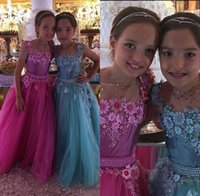 Wholesale Pretty Ball Gown Prom Dresses - 2017 Pretty Sheer O Neck Tulle Kids Prom Dresses Girls Pageant Party Dresses Hand Made Flowers Pearls Waist Long Flower Girls Dresses