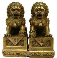 Wholesale Brass Dog Statue - Wholesale cheap Chinese Brass Folk Fengshui Foo Fu Dog Guardion Door Lion Statue 1pair   2pcs Free Shipping