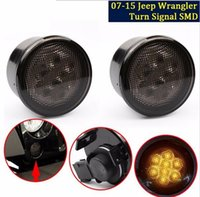 Wholesale Side Makers - Amber Front LED Turn Signal Light Assembly for 2007~2016 Jeep Wrangler JK Turn Lamp Fender Flares Eyebrow Indicator Side Maker Parking Light