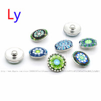 Wholesale Silver Stone Ring Tibet - New Arrival 18mm Cabochon Glass Stone Buttons Lotus Flower Ginger Snap Buttons for Noosa Snaps Bracelet Necklace Ring Earring YD0074