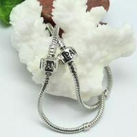 Wholesale Designer Silver Jewelry 925 - 925 Sterling silver 16-23cm Barrel Clasp Fit European Beads For Pandora Bracelet Snake Chain Bracelets Designer Jewelry DIY Accessories