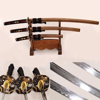 Forgiato a mano giapponese Samurai 3 Dragon Swords Set (Katana + Wakizashi + Tanto) argilla temperata acciaio di Damasco Hualee legno Saya Sharp