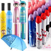 şarap şişesi seyahat toptan satış-Moda Yaratıcı Şişe Şemsiye / Şarap Şişesi Şemsiye Seyahat Katlanır Güneş Yağmur Şemsiye Rüzgar Geçirmez Güneş Gölge DHL ücretsiz