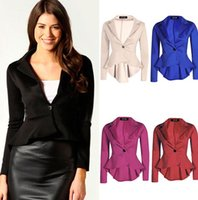 Wholesale Suit Jacket White For Woman - 2016 new fashion spring autumn sexy formalblazer For Women Suits famele classic pure color simply Jacket Coat free shipping size S-2XL