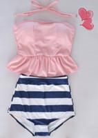 Wholesale Vintage Navy Swimsuit - pinkish orangish navy stripe HIGH WAISTED Bikini Set RETRO Swimsuits Suits Swimwear Vintage Bandeau M L XL bathing suit women free shipping
