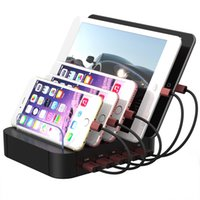 Wholesale Mobile Phone Charger Station - 5 Ports USB Charging Station Universal Detachable Stand Holder Desktop Charger for Mobile Phone Tablet EU US Plug