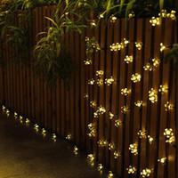 flores solares al aire libre al por mayor-7M 50 LED Luces de cadena con energía solar al aire libre Lámparas de flores 8 modos 23 pies Multicolor Impermeable Decorativo Luz de flor de hadas de Navidad
