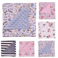 Wholesale cartoon blanket cushion - Baby Minky bubble dot blanket Cotton Floral flamingo Stripe Receiving Blanket Newborn Bedding Towels Shower Robes Cushion Gift