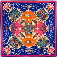Wholesale Twill Silk Scarf Blue - 100cm*100cm 100% Twill Silk Euro Brand French design sky Hofgarten the palace garden Printed Women Square Silk Scarves