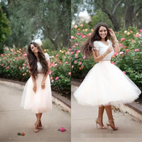 Wholesale Tutu Dress Lengths Tulle - 2016 Two Pieces Beach Summer Wedding Dresses Custom Cheap Bridal Gowns Short Tea Length Tutu Skirt For Adult White Tulle Robe De Mariee