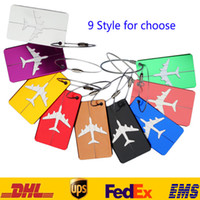 Wholesale Luggage Labels Wholesale - Aircraft Plane Luggage ID Tags Boarding Travel Address ID Card Case Bag Labels Card Dog Tag Collection Keychain Key Rings Toys Gifts HH-C01