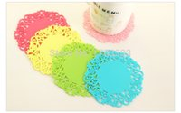 Wholesale Pink Kitchen Accessories - Colorful Lace Cup Mat PVC Round Coaster Zakka Tea Placement accessories for table Kitchen Novelty households #FG465