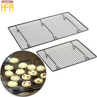 Wholesale Cooler Racks - Baking Rack Cake Mould Baking Tools Bread Cake Cookie Bake Rack Non Stick Stainless Steel Cooling Rack Kitchen Tools 2 Sizes Black Color
