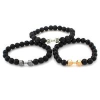 pulseiras de ouro buda venda por atacado-Ouro Prata Dumbell Pulseira Pedra Natural Lava Rocha Oração Buddha Pulseira Bangle Cuffs para As Mulheres Moda Esporte Jóias Drop Shipping