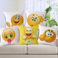 Emoji Pillow Case Cover Decorative Home Cotton Linen Living Room Bed Chair Seat Waist Throw Cushion Bedding Pillowcases YYA402