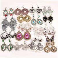 Wholesale Wholesale Long Fashion Earrings - Mixed vintage bohemian long dangle earrings galzed gemstone resin bronze silver long tassel statement bohemian dangle fashion jewelry bulk