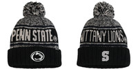 Wholesale Lion Winter Hat - NCAA BIG ten Penn State Nittany Lions Heathered Charcoal Sideline Training Cuffed Knit Hat Black Acid Rain Cuffed Pom Knit Hat beanies Caps