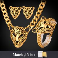 Cool Leopard Head Bracelet Earrings Necklace Set para Mulheres / Homens New Trendy 18K Real Gold Plated Costume African Jewelry Sets PEH727