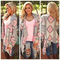 Wholesale Plus Size Cardigans Shrugs - Fashion Women Chevron Sweaters Spring Autumn Chothing Shrug Sweater Loose Women Plus Size Fall Oversized Cardigan