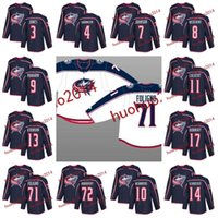 100a 2017-2018 Columbus Jackets azules Nick Foligno Sergei Bobrovsky Brandon Dubinsky Zachary Werenski Seth Jones Jack Johnson Hockey Jerseys