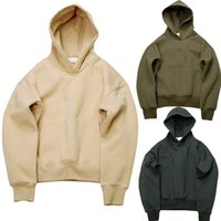 Wholesale swag sweatshirt red resale online - Oversize Autumn Men s Clothing Casual Warm Winter Hoodies Solid Color Hooded Hiphop Pullovers with Fleece Kanye West Swag Tops Sweatshirts
