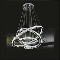 Wholesale Luxurious Lamp - Modern LED Crystal Chandelier Lighting luxurious K9 Transparent Crystal Round 4 Rings 20CM Plus 40CM Plus 60CM Plus 80CM Lamps Fixtures