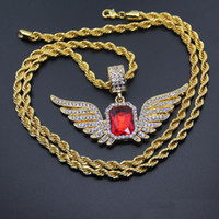 Wholesale Big Gold Filled Pendants - Hip Hop Angel Wings with Big Red Stone Pendant Necklace 4.8*8cm 5mm*76cm Rope Chain Men Women Iced Out Jewelry