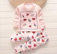 Wholesale Cheap Underwear Sleepwear - kids baby pajamas sets jammies children warm underwear baby boys girls pajamas suit winter cartoon clothes baby cheap sleepwear