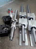 2 SBR16-1050mm support de rail linéaire +1 vis à billes RM1605-1050mm bout de boule de machine à la fin +1 ensemble BK / BF12 roulements d'extrémité + 1coupling CNC ensembles