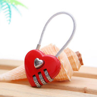 Wholesale mini padlocks - Mini Cute Heart Shape Wire Rope 3 Digits Lock Luggage Suitcase Handbag Password Coded Padlock Travel Accessories ZA1351
