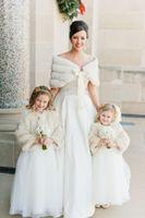 Wholesale bridesmaids fur shawls - 2017 Cheap Winter In Stock Hot White Ivory Faux Fur Shawl Wrap Wedding Bridal Bridesmaid Wraps Warmer Women Shawl With Ribbon Free shipping