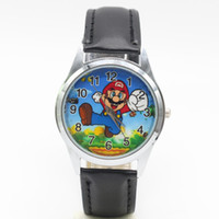 Wholesale Kid Leather Doll - Free Shipping 1pcs Cartoon Super mario doll kids Watch Children Kids Girls Boys Students Quartz Wristwatches.