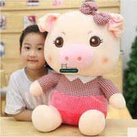 Wholesale 24 Pig Doll - Dorimytrader 60cm Big Lovely Cartoon Pig Plush Toy 24'' Giant Fashion Lover Pigs Stuffed Doll Pillow Christmas Present DY61379