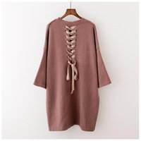 Wholesale Plus Size European Winter Dresses - 2017 Autumn and Winter New Fashion Back Bandage Women Pullover Sweater Plus Size Loose Knitting Solid Three Quarter Sleeve Dress