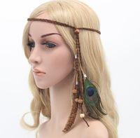 Wholesale White Peacock Headbands - Vintage 2016 Women Bohemia Headbands Peacock Feather Kids Double Colors Fashion Handmade Bow Hair Accessories Pure Cotton Headband K7544
