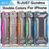 Wholesale Double Color Metal Aluminum Case - R-JUST Gundam Double Color Slim Shockproof Aluminum Metal Phone Case Frame Bumper Cover For iPhone 5 5S 6 6S Plus Outdoor Phone Case