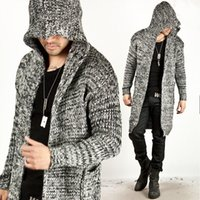 Wholesale Slim Fit Mens Black Cardigan - Trendy Fashion Mens Warm Sweaters Cardigan Hooded Knitted Long Jacket Autumn Winter Coat Slim Fit Casual Thickening Tops