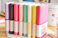 Wholesale Business Memos - Cute Colorful Mini Smile Leather Notebook 7.5*.12.5 CM 192 Sheets Wire Bound 90g pc Fashion Diary for Business and Students