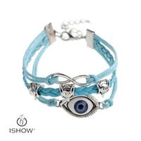 Wholesale turkish evil eye wholesale - Fashion Jewelry PU leather HAMSA blue Evil Eye bracelets Turkish Kabbalah Chain Charm Bracelets bangle jewelry gift for men or women