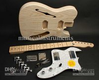 Wholesale Electric Guitars Kits - Custom 72 Tele Electric Guitar For Fender Kit DIY Unfinished Guitar Kit With Semi Hollow Body Free shipping
