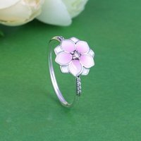 Wholesale Bloom Party - Pink 925 silver rings Magnolia Bloom Fits For Women Pandora Style S925 Sterling Silver Free Shipping h9