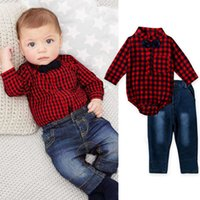 Wholesale Baby Boy Red Jeans - New Arrival Baby Boy Denim Set Clothes Bow Tie Plaid Shirt Bodysuit+Jeans Trouser 2PCS Suit For Kid Toddler Outfits Tracksuit Costume 0-2T
