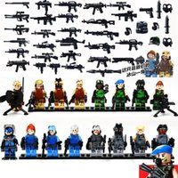 Wholesale Mini Toys Gun - 16 in 1 pack 347pcs ABS toys plastic building blocks play set Military series mini figures weapon gun set DE0195393